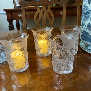 HAWKES Hand Cut Crystal Votives Tumblers